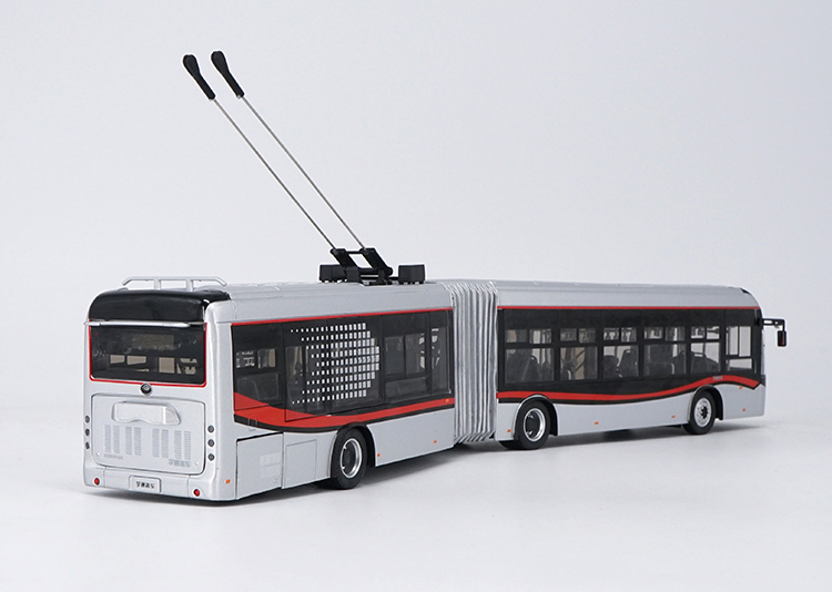 1/42 Yutong Dual-source Trackless Trolleybus BRT ZK5180A Alloy Toy Car, Diecast Scale Model Car, Collectible Model Car, Miniature Collection Die-cast Toy Vehicles Gifts