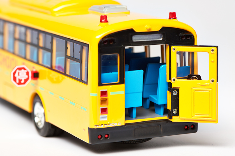1/42 Yutong School Bus ZK6109DX2 Red Alloy Toy Car, Diecast Scale Model Car, Collectible Model Car, Miniature Collection Die-cast Toy Vehicles Gifts