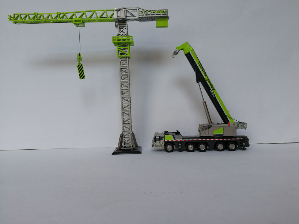 1:100 Zoomlion Products' Model 4PC Set , ZAT2000V Tower Crane Mixer Pump Truck toy, (Scale Model Truck, Construction vehicles Scale Model, Alloy Toy Car, Diecast Scale Model Car, Collectible Model Car, Miniature Collection Die cast Toy Vehicles Gifts).