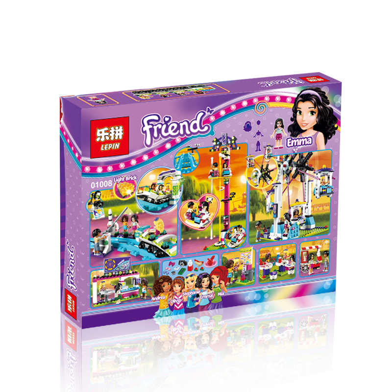 1124+ PCS Building Bricks, LP 01008 Building Blocks Friends 41130 Amusement Park Roller Coaster.