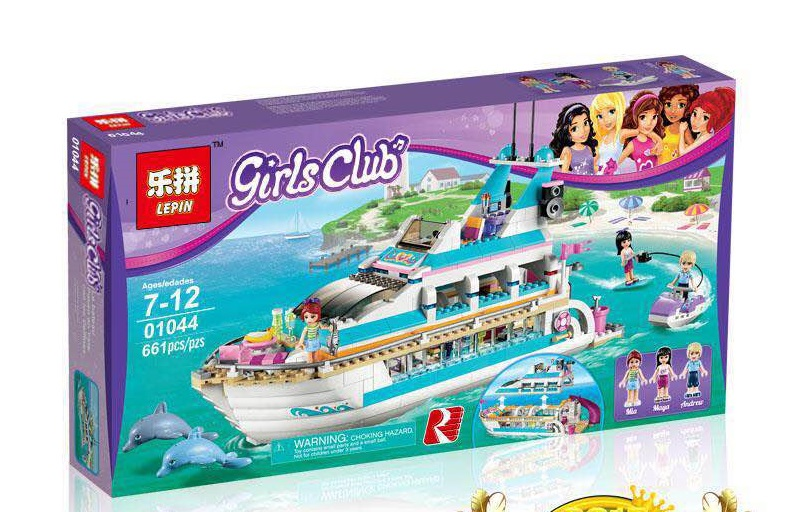 661+ PCS Building Bricks, LP 01044 Building Blocks Friends 41015 Dolphin Cruiser.