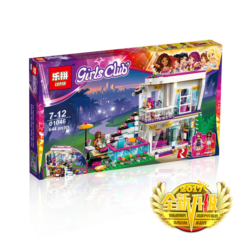 644+ PCS Building Bricks, LP 01046 Building Blocks Friends 41135 Livi's Pop Star House.