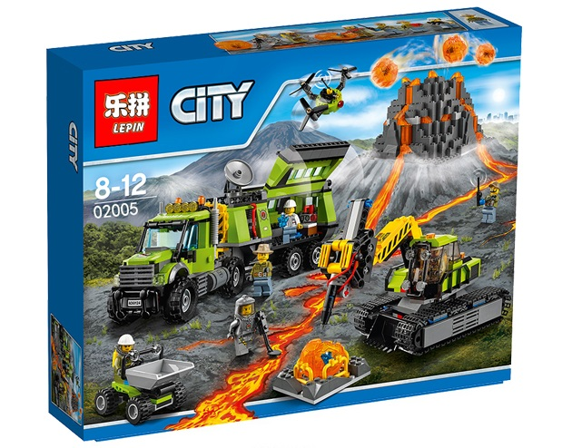 889+ PCS Building Bricks, LP 02005 Building Blocks City 60124 Volcano Exploration Base.