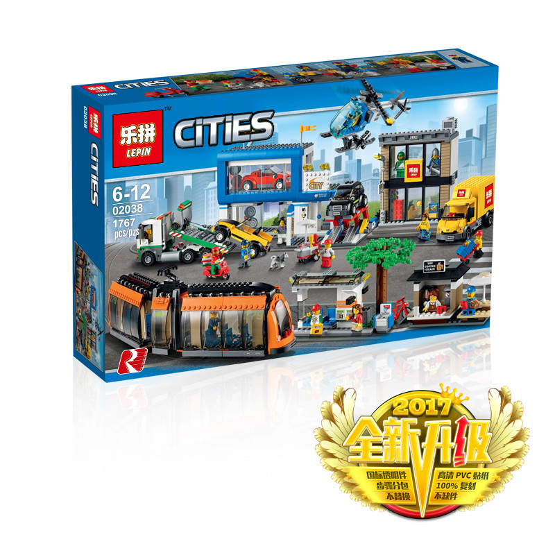 1767+ PCS Building Bricks, LP 02038 Building Blocks City 60097 City Square.