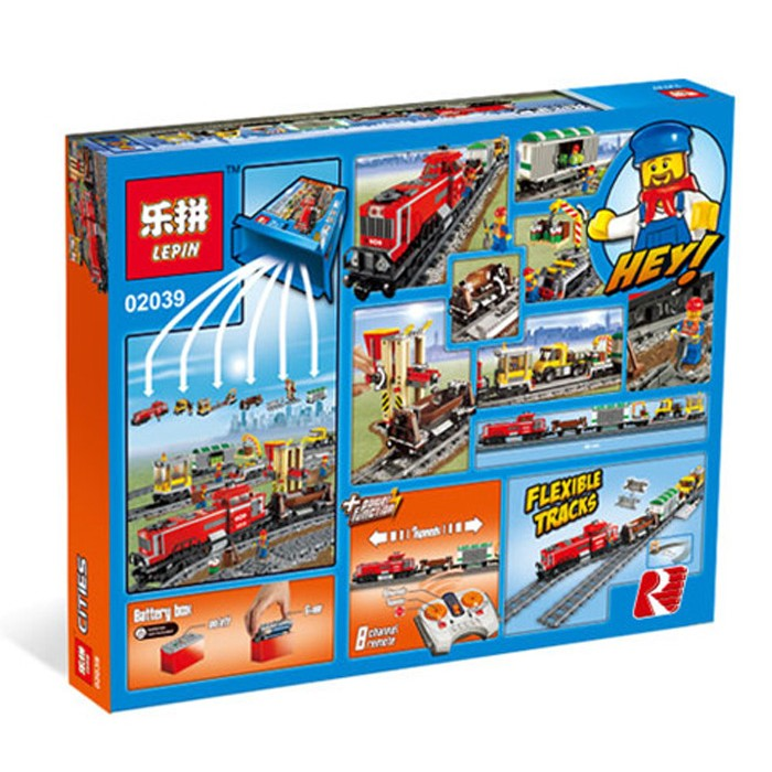898+ PCS Building Bricks, LP 02039 Building Blocks City 3677 Red Cargo Train.