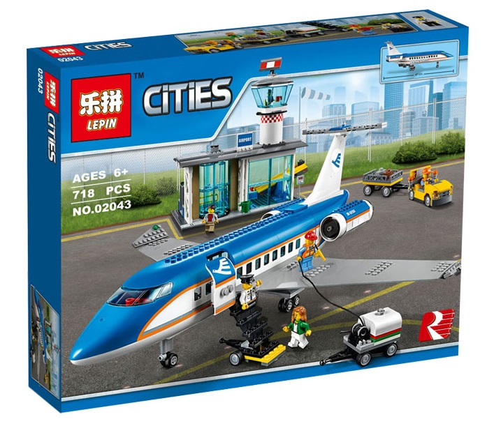 718+ PCS Building Bricks, LP 02043 Building Blocks City 660104 Airport Passenger Terminal.