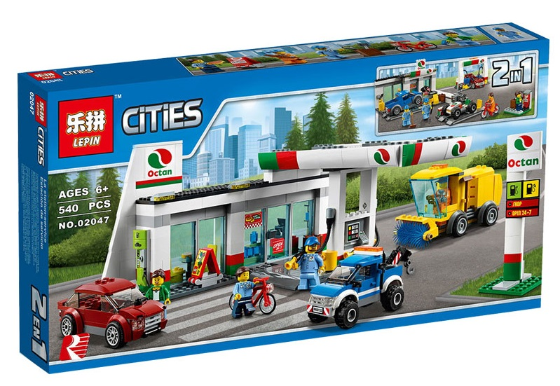 858+ PCS Building Bricks, LP 02047 Building Blocks City 60132 Service Station.