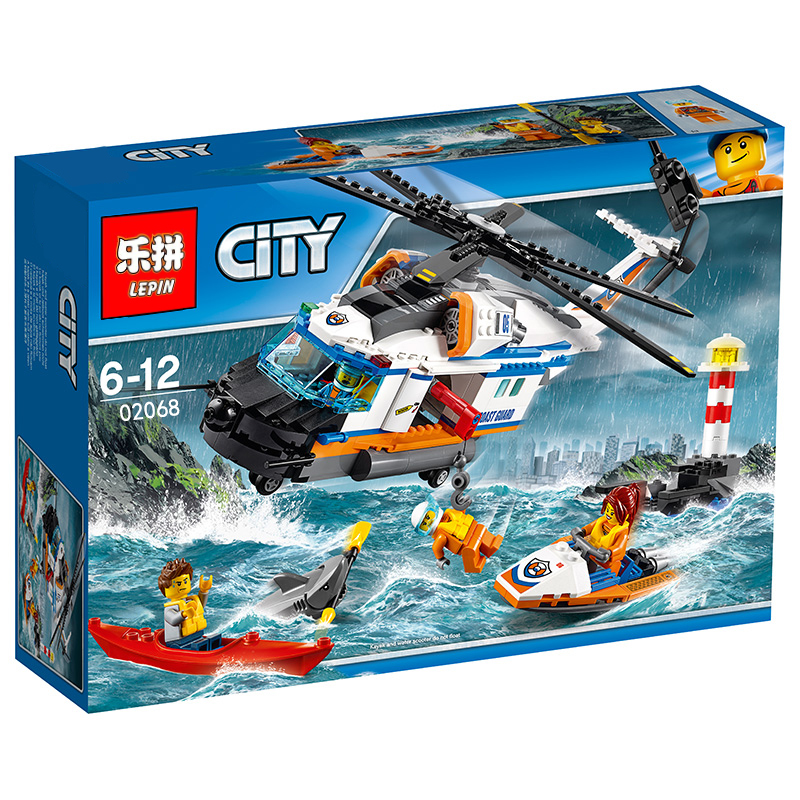 448+ PCS Building Bricks, LP 02068 Building Blocks City 60166 Heavy-duty Rescue Helicopter.