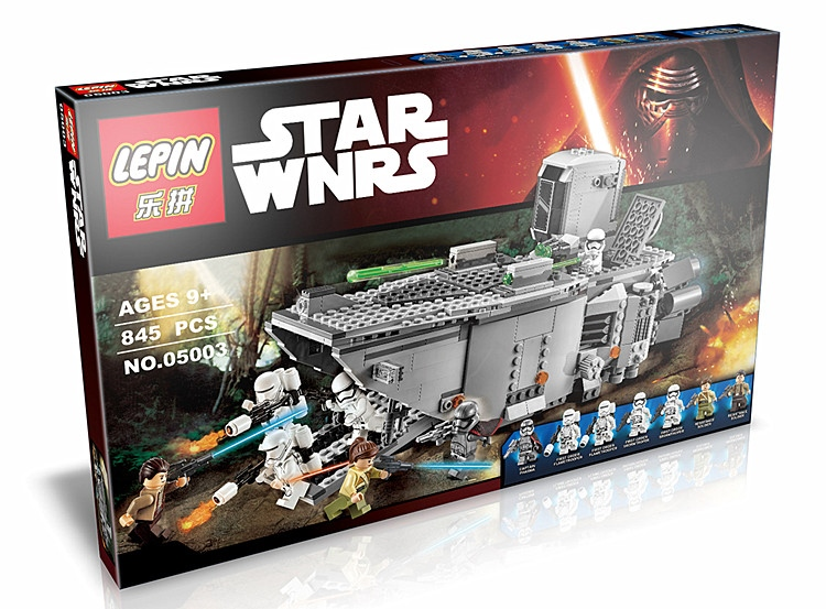 845+ PCS Building Bricks, LP 05003 Building Blocks 75103 Star Wars First Order Transporter.