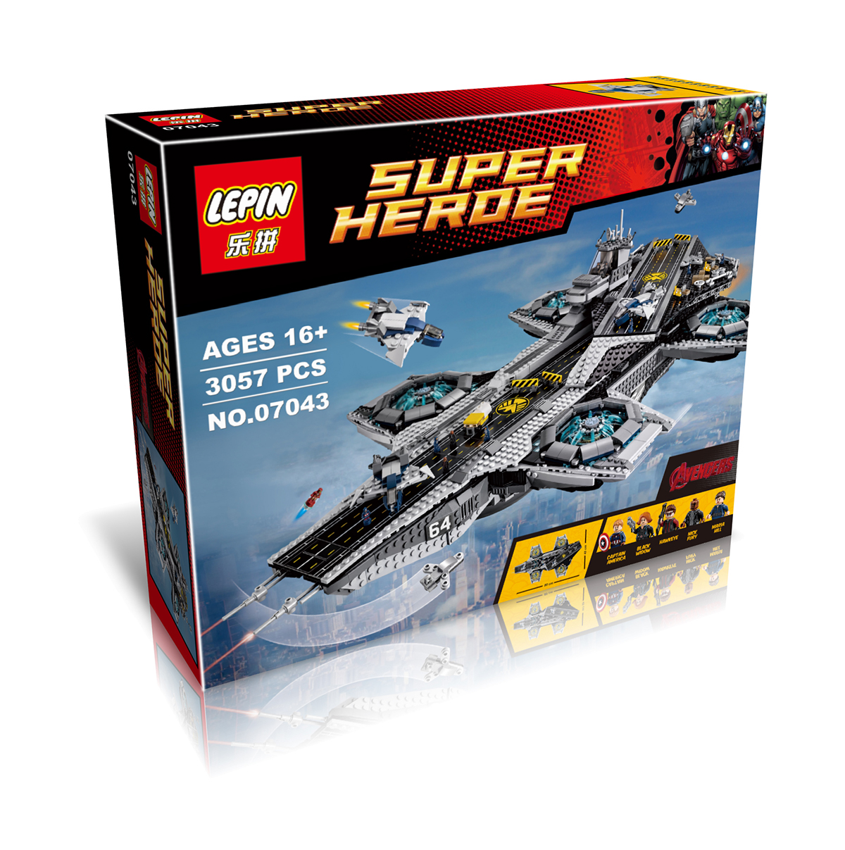 3057+ PCS Building Bricks, LP 07043 Building Blocks Super Heroes 76042 The S.H.I.E.L.D. Helicarrier.
