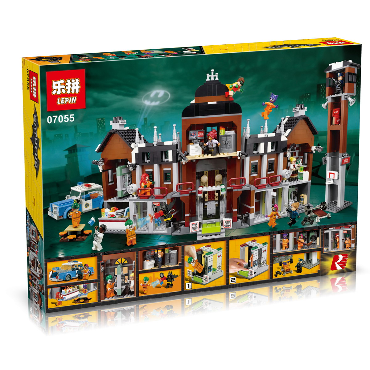 1628+ PCS Building Bricks, LP 07055 Building Blocks Batman Movie 70912 Arkham Asylum.