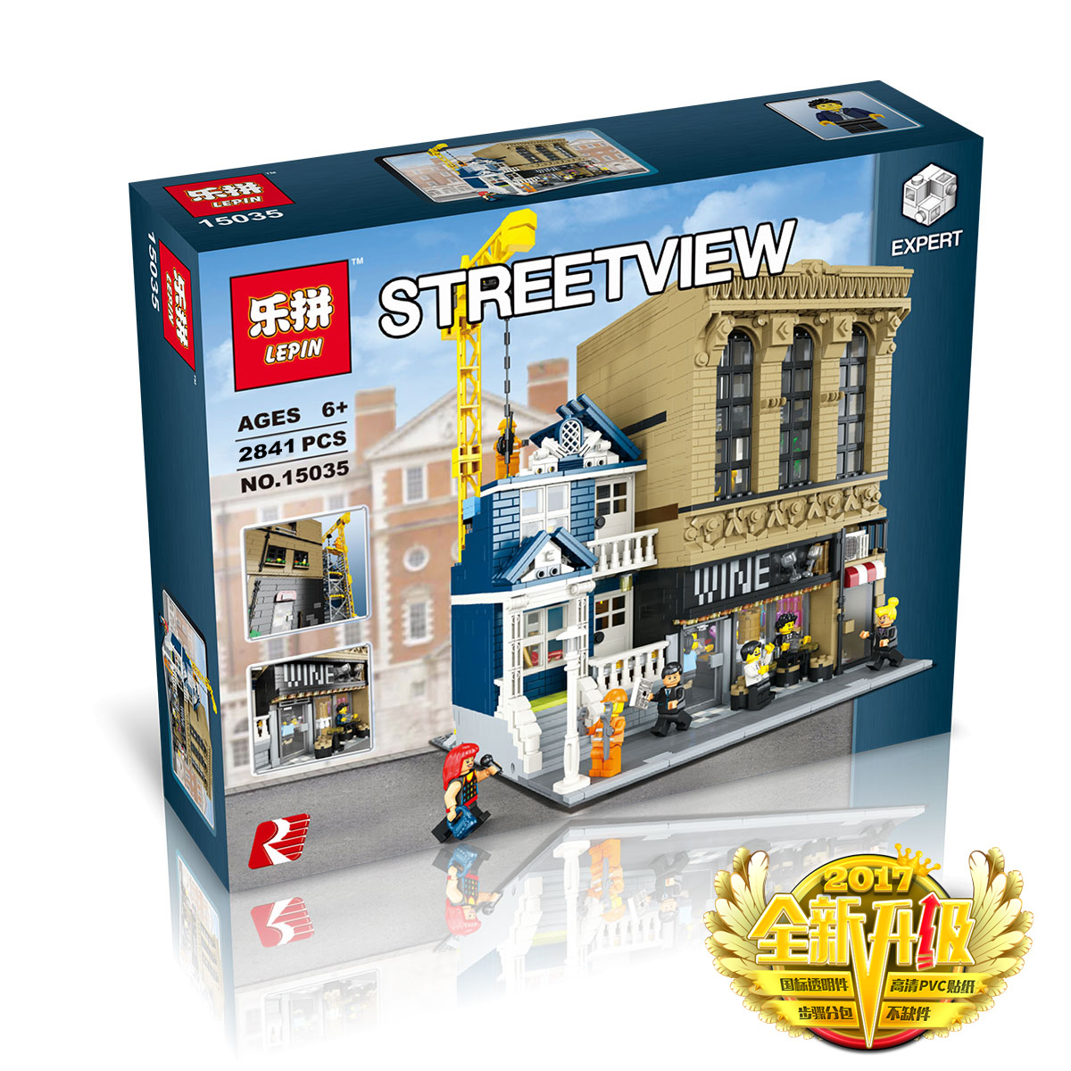 2841+ PCS Building Bricks, LP 15035 Building Blocks Creator Modular Wine Bar and Construction Site.