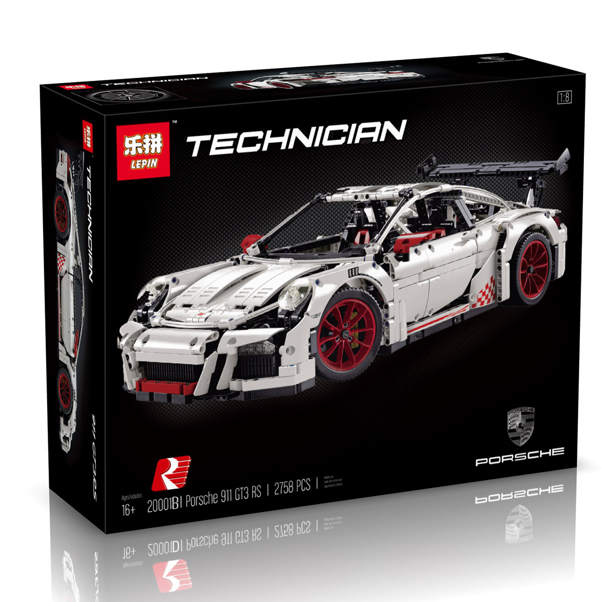 2758+ PCS Building Bricks, LP 20001B Building Blocks Technic 42056 Porsche 911 GT3 RS.