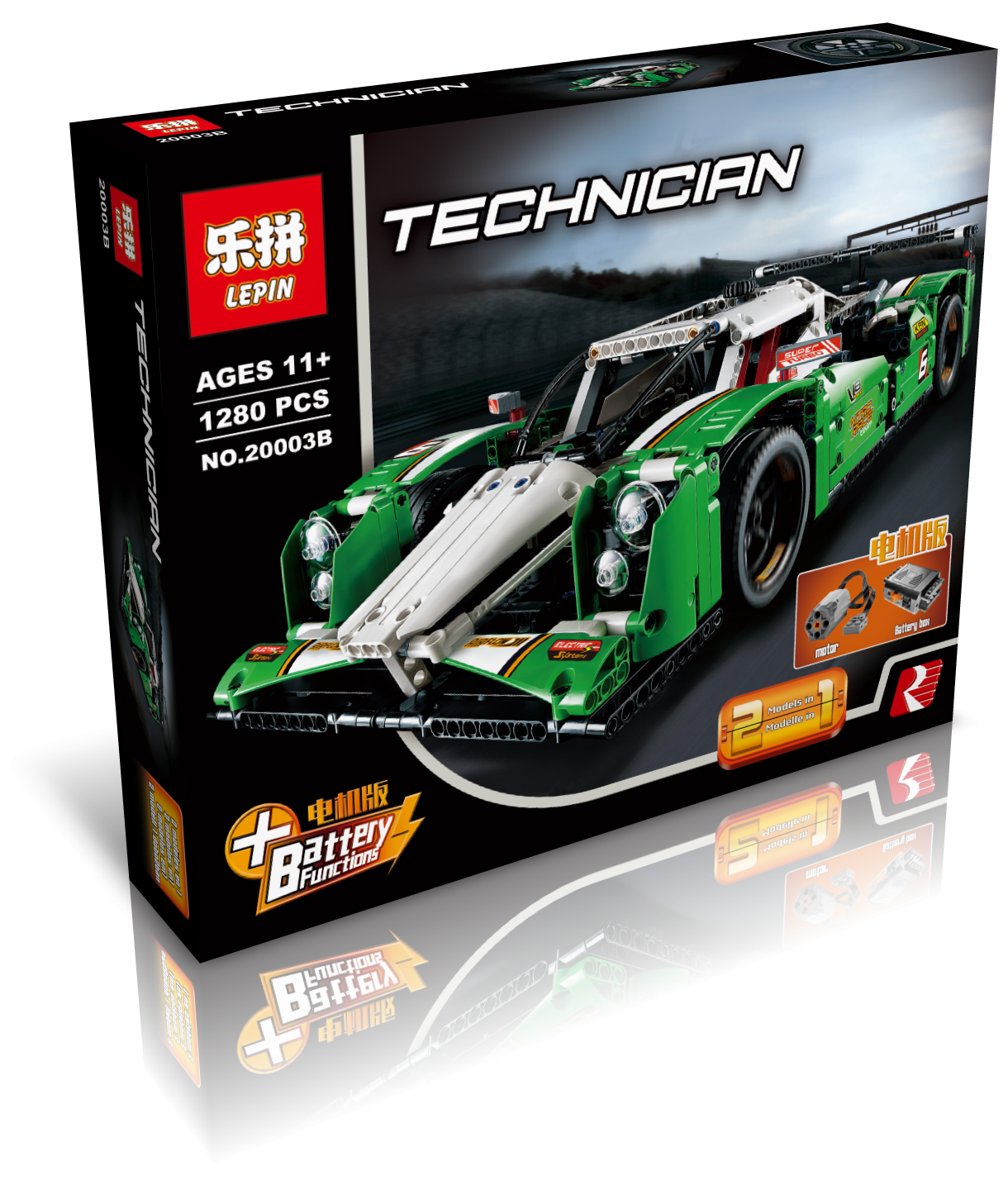 1280+ PCS Building Bricks, LP 20003B Building Blocks Technic 42039 24 Hours Race Car.