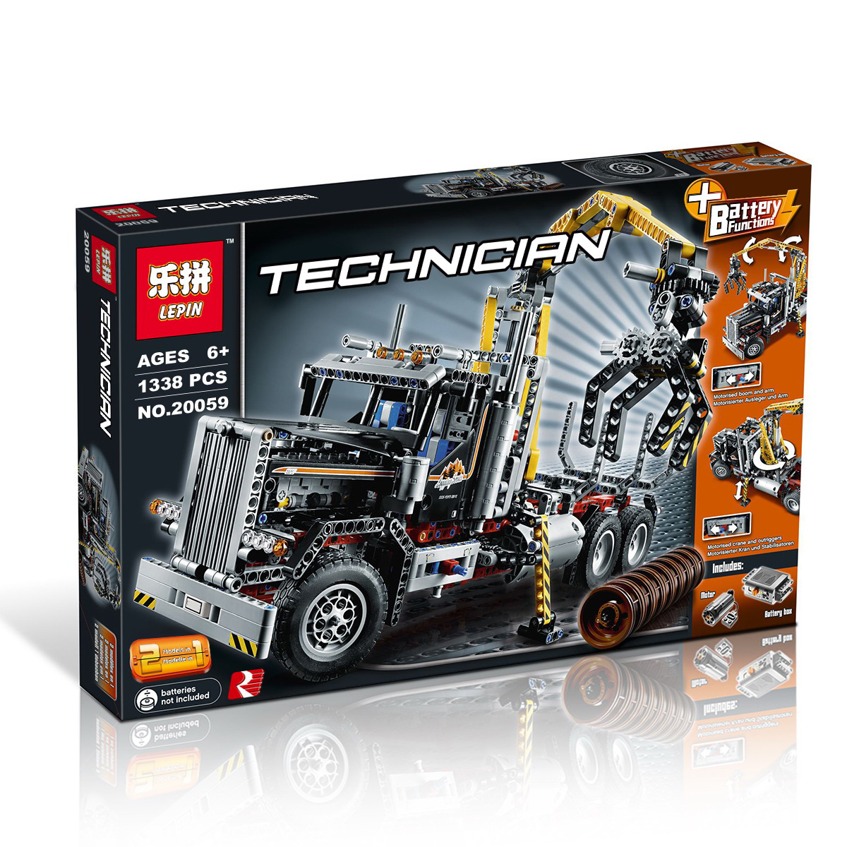 1338+ PCS Building Bricks, LP 20059 Building Blocks Technic 9397 LOGGING TRUCK.