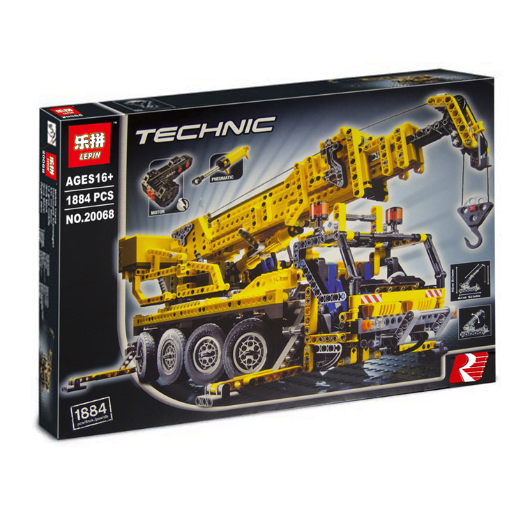 1884+ PCS Building Bricks, LP 20068 Building Blocks Technic 8421 MOTORIZED MOBILE CRANE.