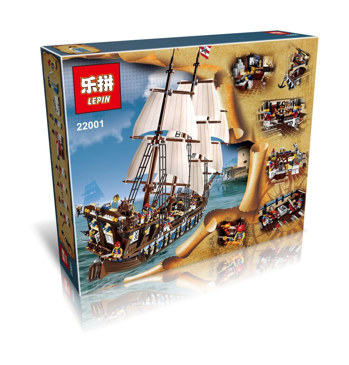 1717+ PCS Building Bricks, LP 22001 Building Blocks 10210 Pirates Imperial Flagship.