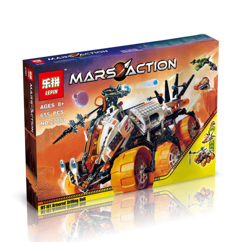 655+ PCS Building Bricks, LP 27001 Building Blocks Space Mars Mission 7699 MT-101 Armored Drilling Unit.