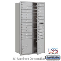 Front Loading 4C Horizontal Mailbox 20 Doors and 2 Parcel Lockers - Aluminum