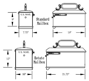 mailbox dimensions. Your Choice Of Pull Ring Or Knob On The Imperial Mailbox You Select. Is Only Available In Estate Size. Custom Logo 0 Dimensions