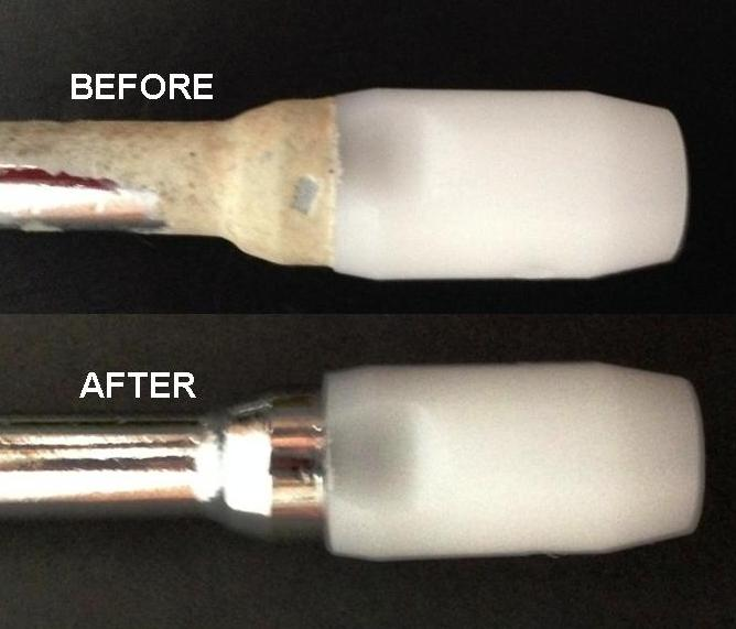 A steam wand shown before and after using Rinza