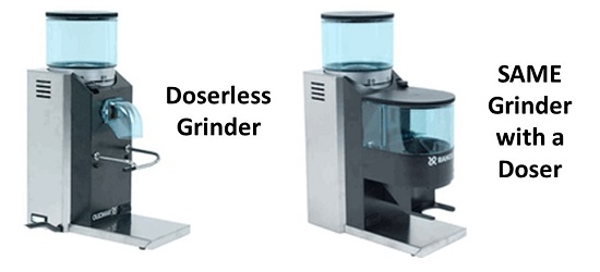 The Same Grinder Shown Doserless, and with a Doser