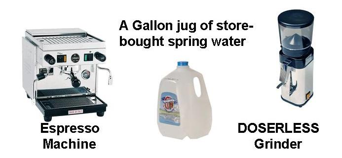 Use bottled spring water. A doserless grinder is best for home use.