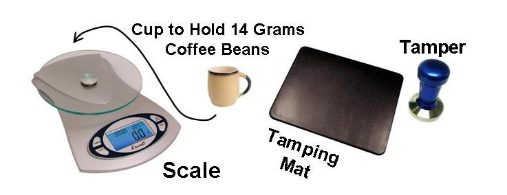 A digital scale can measure out 1 dose of coffee. Use a tamping mat!