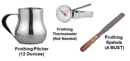 Use a 12 ounce frothing pitcher. You don't need a thermometer, but will want a spatula.