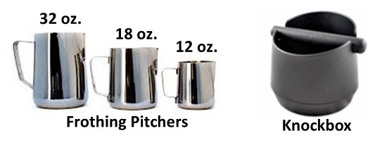 Three Frothing Pitchers and a Knockbox