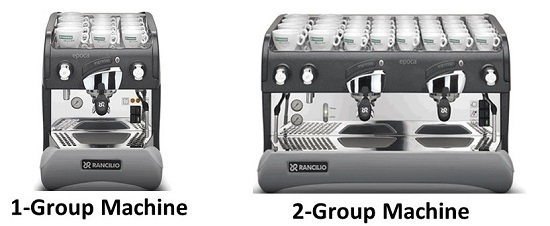 Espresso Machine in 1-Group and 2-Group Configurations