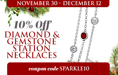 10% Off all Diamond and Gemstone Station Necklaces