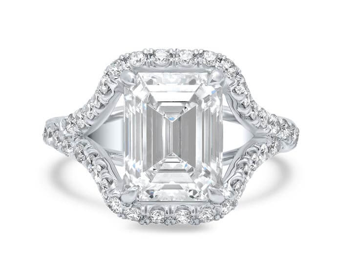 Gorgeous Partial Halo Platinum Engagement Ring