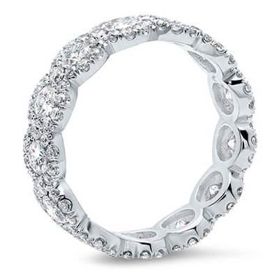 Platinum Diamond and Moissanite Eternity Wedding Band