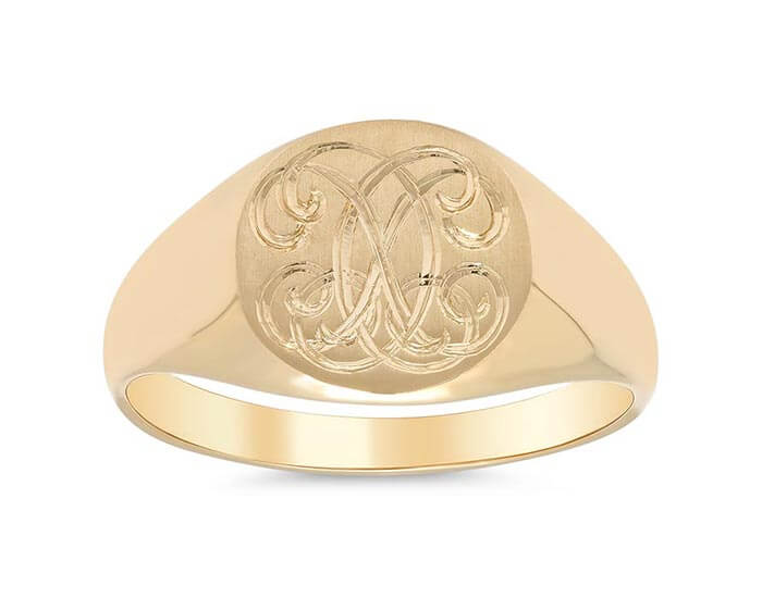 Custom Hand Engraved Crest Signet Ring
