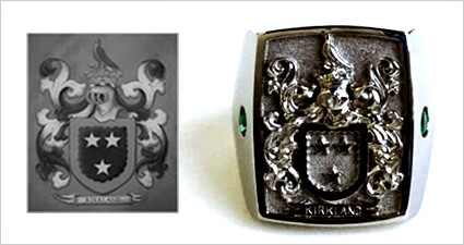Custom Family Crest Emerald Signet Ring