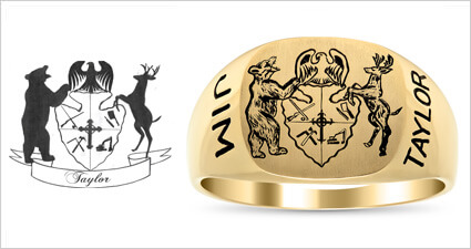 Custom Family Crest Personalized Signet Ring Design from deBebians