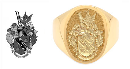 Custom Gold Family Crest Dragon Signet Ring