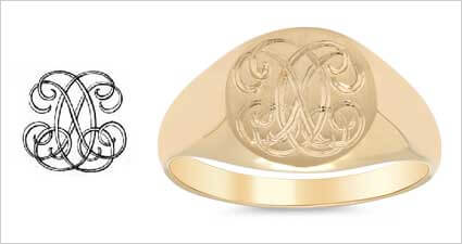 Custom Monogram Gold Signet Ring