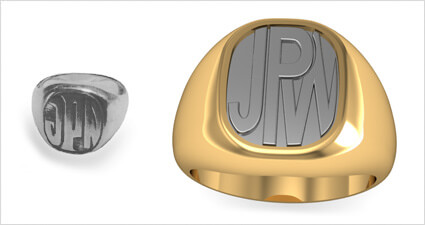 Gold & Platinum Two-Tone Engraved Monogram Signet Ring