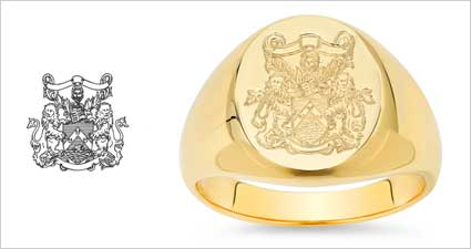 Family Crest on a Custom Gold Signet Ring