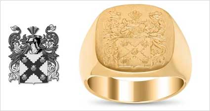 Engraved Family Crest Signet Ring