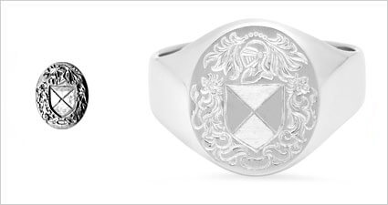 Family Coat of Arms Engraved On Gold Custom Signet Ring