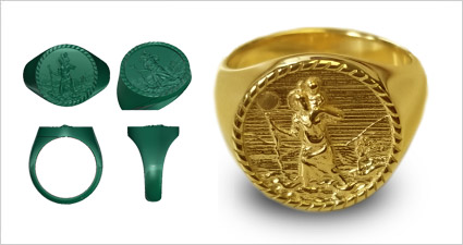 Custom St. Christopher gold signet ring
