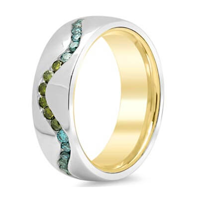 Wave Pattern Domed Wedding Band with Irradiated Colored Diamonds