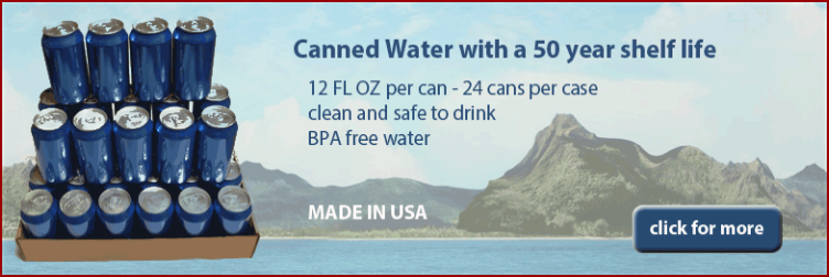 Bluecan canned drinking water with 50 year shelf life