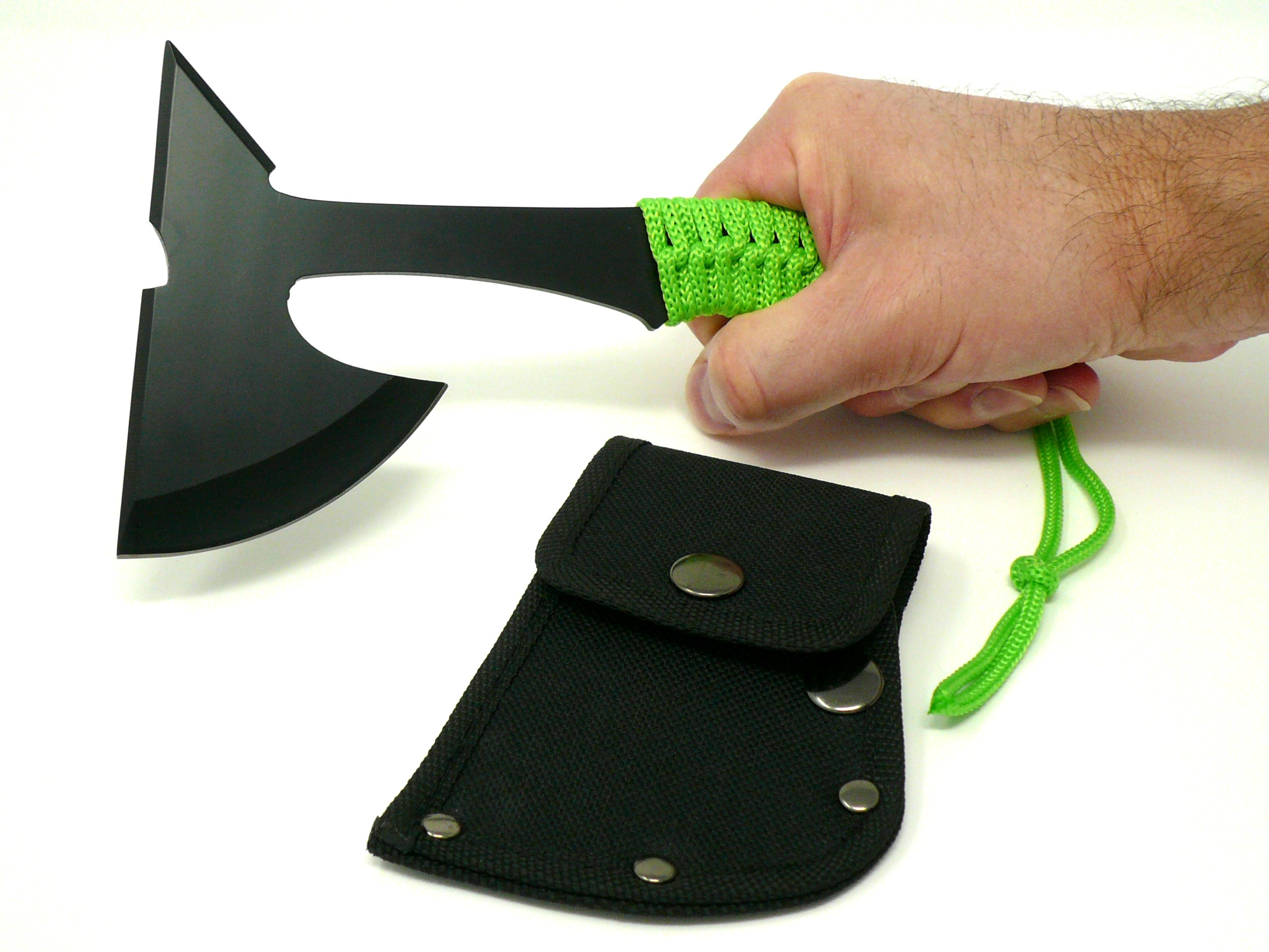 green hatchet axe with full tang and spike