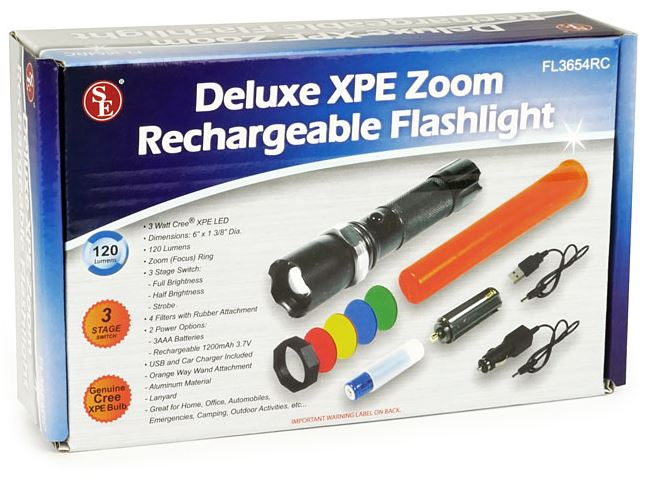 rechargeable USB flashlight with safety wand