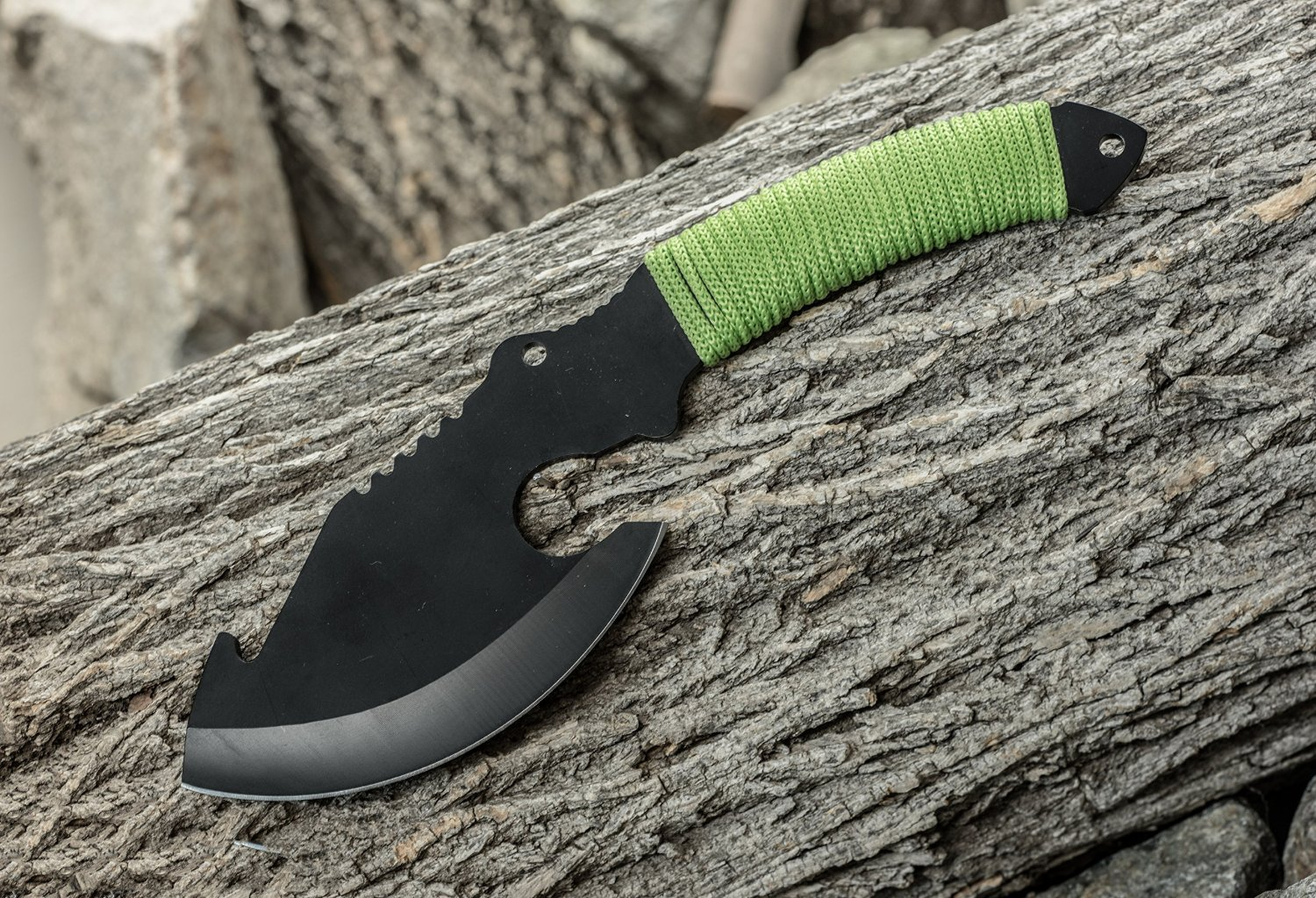 green hatchet axe with full tang
