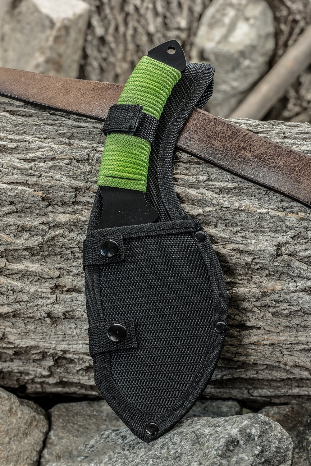 green hatchet axe with full tang and sheath